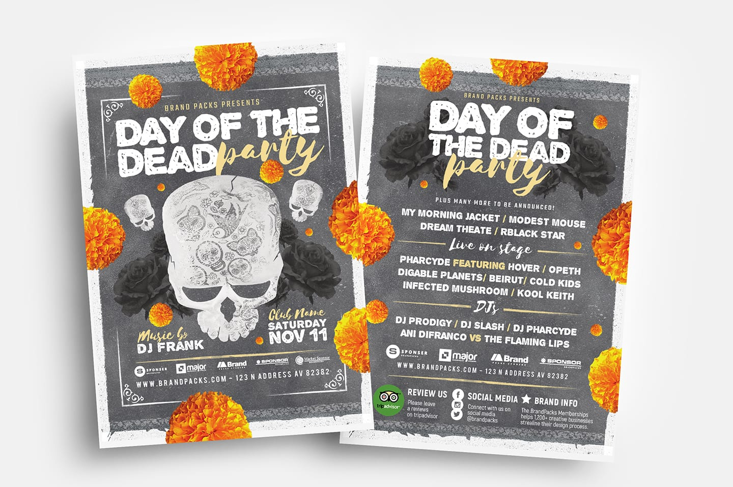 Day of The Dead Party Flyer Templates