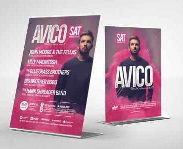 DJ Event Flyer Template in PSD & Vector (Table Tents)