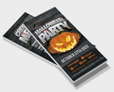 Halloween Party DL Card Template (Front)