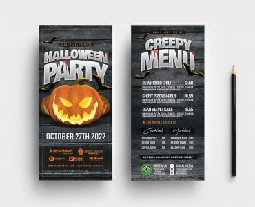 Halloween Party DL Card Templates