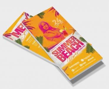 Summer Beach DL Card Template (Front)