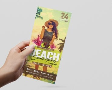 Summer Beach Party DL Card Template (Front)