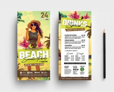 Summer Beach Party DL Card Templates