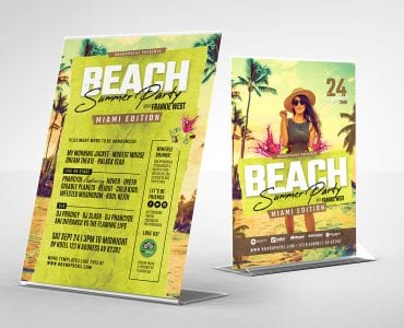 Summer Beach Party Table Tent Templates