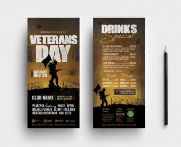 Veterans Day DL Card Templates