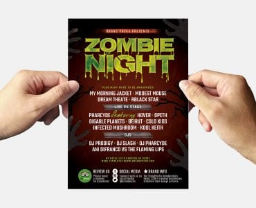 Zombie Night Halloween Flyer Template (Back)