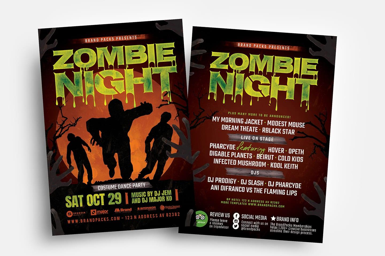 Zombie Night Halloween Flyer Templates