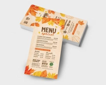 Autumn DL Card Template (Back)
