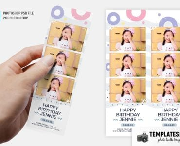 Birthday Pastel Photo Booth Template (2x6 photo strip)