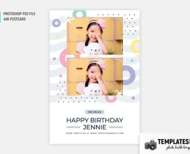 Birthday Pastel Photo Booth Template (4x6 postcard)