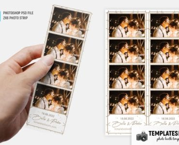 Gold Line Wedding Photo Booth Template (2x6 photo strip)