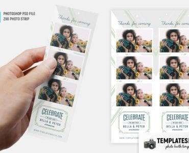 Light Green Photo Booth Template (2x6 photo strip)