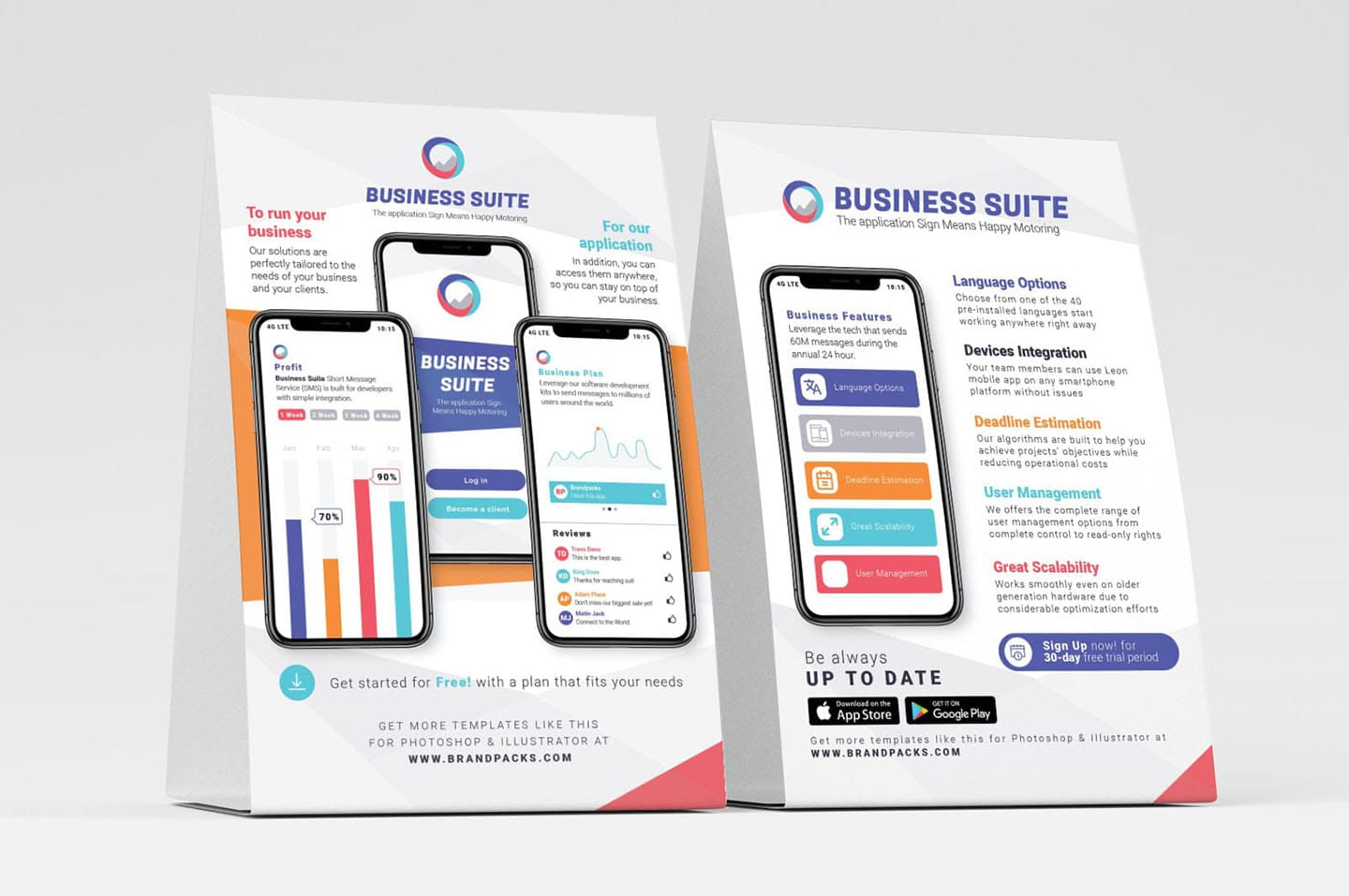 Mobile App Table Tent Templates