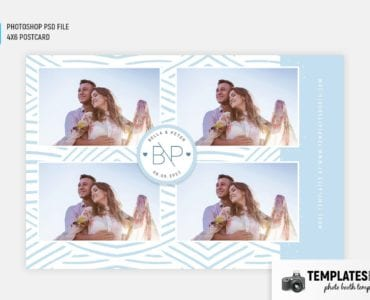 Woven Blue Photo Booth Template (4x6 postcard)