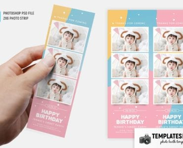 Baby Birthday Photo Booth Template (2x6 photo strip)
