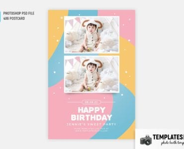 Baby Birthday Photo Booth Template (4x6 postcard)