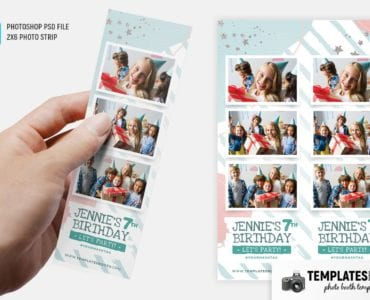 Birthday Party Photo Booth Template (2x6 photo strip)