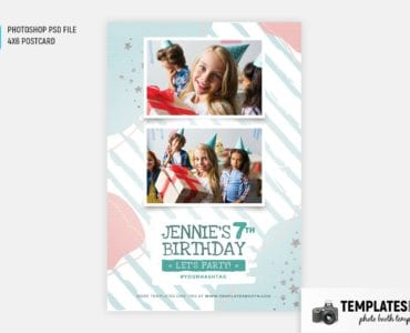 Birthday Party Photo Booth Template (4x6 postcard)