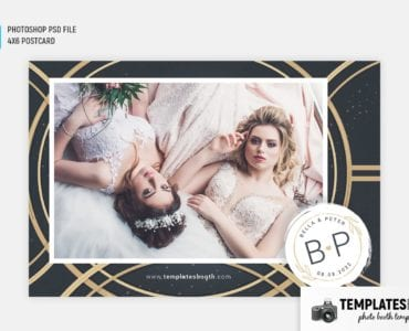 Golden Rings Photo Booth Template (4x6 postcard)
