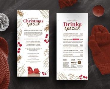 Rustic Christmas DL Menu Card Template