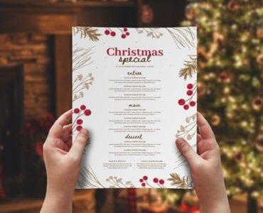 Rustic Christmas Menu Template (Layout)