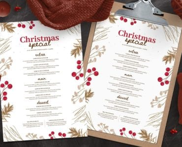 Rustic Christmas Menu Templates