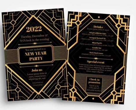 Art Deco Party Flyer Templates