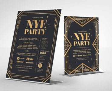 Art Deco Party Flyer Template (Table Tent)