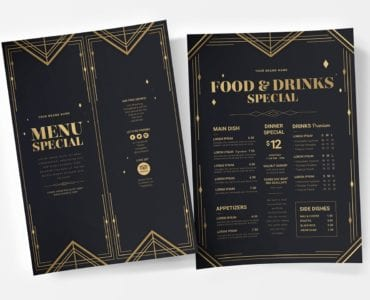 Art Deco Party Menu/Poster Templates