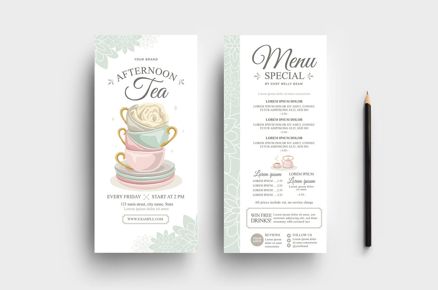 Afternoon Tea DL Card Templates