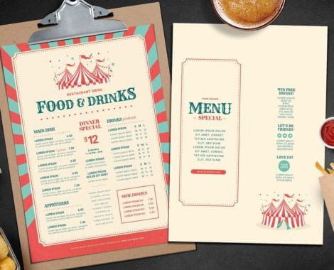 Circus/Carnival Themed Menu Template