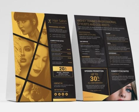 Hair Dresser Flyer Template (table tent front)