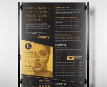 Hair Salon Banner/Poster Template in PSD & Vector
