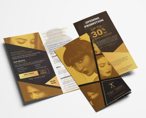 Hair Dresser Tri-Fold Brochure Template