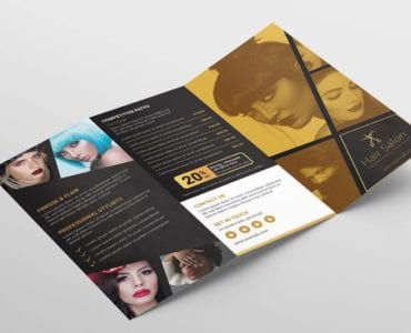 Hair Dresser Tri-Fold Brochure Template (Outside)