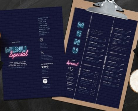 Nightclub Menu Template