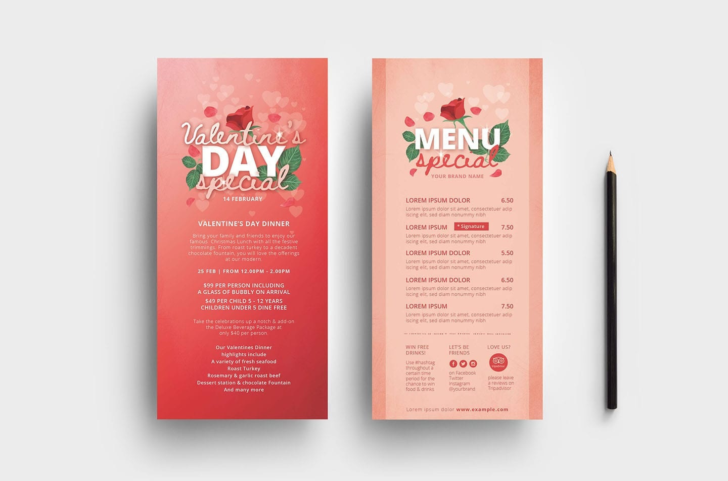 Red Valentine's Day DL Card Template