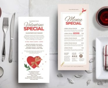 Valentine's Day DL Menu Templates