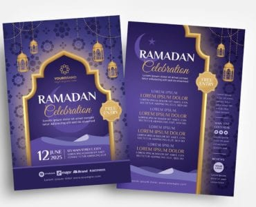 Ramadan Iftar Flyer Templates (Photoshop PSD & Illustrator Ai Vector)