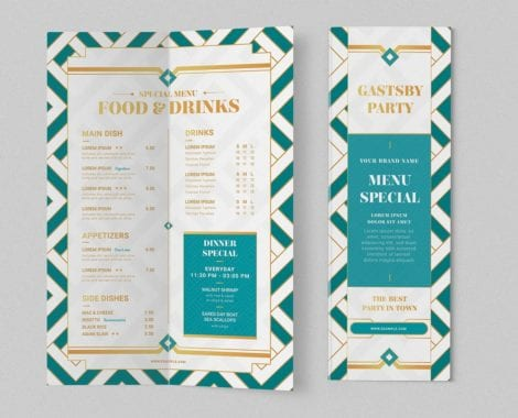 Modern Art Deco Bi-Fold Menu Template