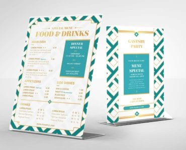 Modern Art Deco Flyer Template (Table Tent Back)