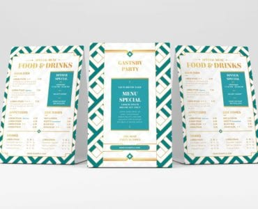 Modern Art Deco Flyer Template (Table Tent Mockup)