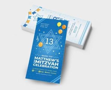 Bar Mitzvah Flyer Template (DL Card)