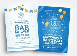 Bar Mitzvah Flyer Template in PSD & Vector