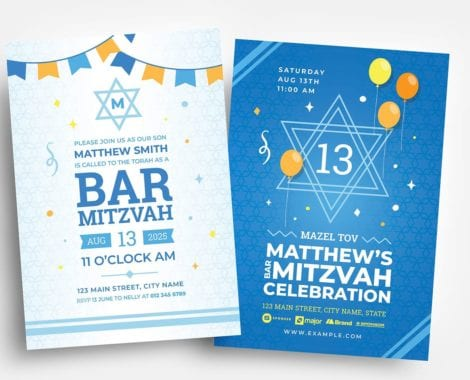 Bar Mitzvah Flyer Template in PSD & Vector