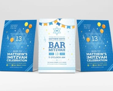 Bar Mitzvah Flyer Template (table tent)