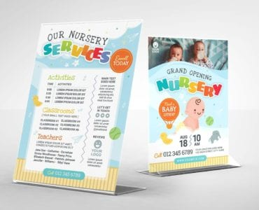 Children's Nursery Flyer Template (Table Tent)