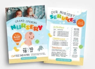 Children's Nursery Flyer Template (PSD, Ai & Vector)
