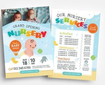 Children's Nursery Flyer Template (PSD, Ai & Vector)