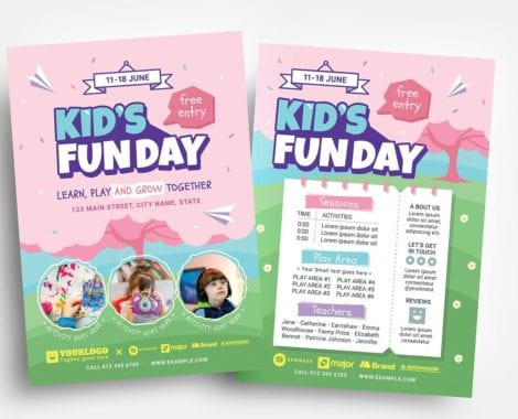 Kid's Fun Day Flyer Templates (PSD, Vector & Ai)